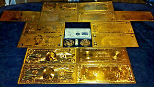Huge 22pc Lot Coins Fossil 7gold Banknotes U S World 3silver Bars Charm
