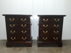 Pair Vintage Mahogany Chippendale Colonial Style 4 Drawer Nightstands