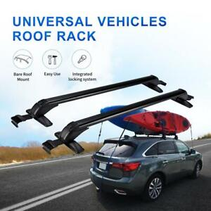 Aluminum Universal Roof Rack Cross Bar W Anti Theft Lock For 4dr Sedan Suv Kayak