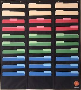 30 Pocket Storage Chart Hanging File Cascading Organizer Black By Wibiz Office