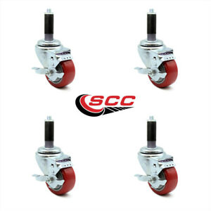 Scc 3 Red Polyurethane Caster W 7 8 Expand Stem W brake Set Of 4