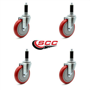 Scc 5 Red Polyurethane Caster W 1 Expanding Stem Set Of 4