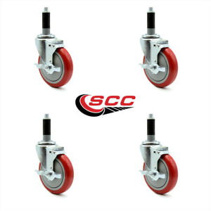 Scc 5 Red Polyurethane Casters W 1 Expand Stem W brake Set Of 4