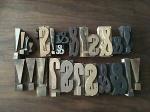 Vintage Lot 26 Wood Letterpress Print Type Block 4 Ampersand Exclamation