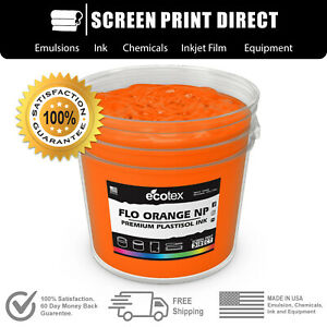 Fluorescent Orange Screen Printing Plastisol Ink Low Temp Cure 32oz