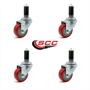 Scc 3 5 Red Polyurethane Caster W 1 1 8 Expanding Stem Set Of 4