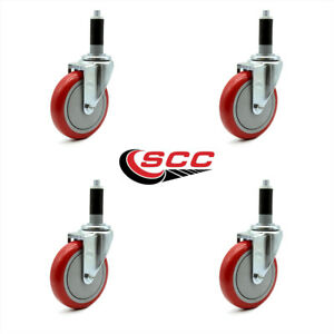 Scc 5 Red Polyurethane Caster W 1 1 8 Expanding Stem Set Of 4
