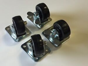 4 Heavy Duty Steel Swivel Plate Caster Wheels 2 With Brake Locks Brand New