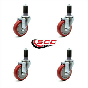 Scc 4 Red Polyurethane Caster W 1 1 4 Expanding Stem Set Of 4