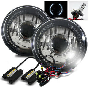 7 Round Semi Seal Black Crystal White Led Projector Headlights 6000k H4 2 Hid