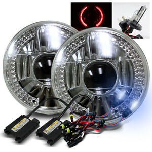 7 Round Semi sealed Glass Lens Red Led Projector Headlights 8000k H4 2 Hid