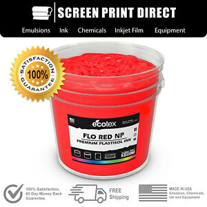 Ecotex Flo Red Premium Plastisol Ink For Screen Printing 1 All Sizes