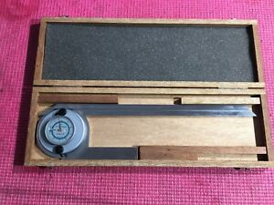 Excellent Swiss Made Tesa Brown Sharpe Dial Protractor Machinist Tools