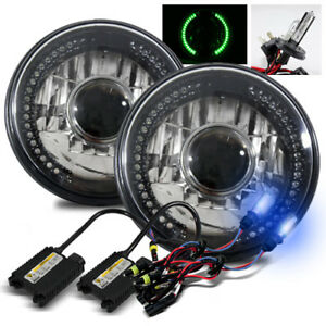 7 Round Semi Seal Black Crystal Green Led Projector Headlights 10000k H4 2 Hid