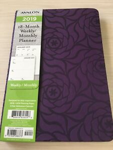 2019 Avalon 18 month Weekly monthly Calendar Planner Appointment Book Purpl