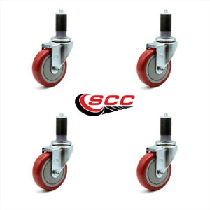 Scc 4 Red Polyurethane Caster W 1 3 8 Expanding Stem Set Of 4