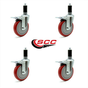 Scc 5 Red Polyurethane Caster W 1 3 8 Expanding Stem W tl Brake Set Of 4