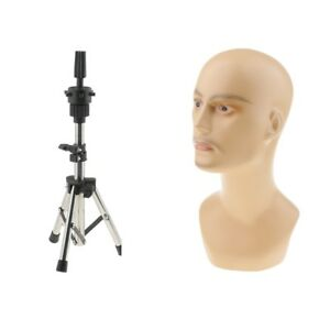 Male Glass Mannequin Head Model Stainless Steel Holder Stand Toupee Display