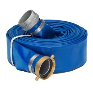 1 5 X 50 Blue Lay Flat Water Discharge Hose W pin Lug Fittings