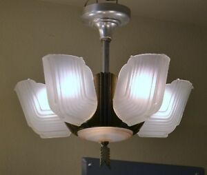 1930 S Art Deco 5 Slip Shade Chandelier Lit Base 1st Of 2 W Matching Shades