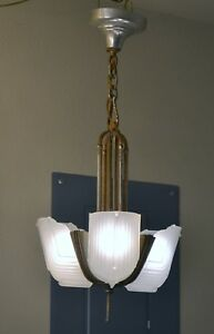 1930 S Art Deco 3 Slip Shade Chandelier 2nd Of 2 With Matching Shades