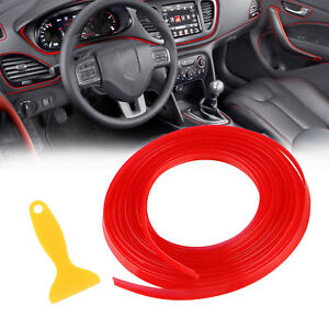 5m Edge Door Guard Trim Car Moulding Guard Auto Molding Protector Strip Line Red
