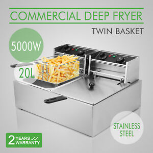 20l Electric Deep Fryer Dual Tanks Commercial Restaurant Stainless Countertop
