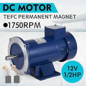 Dc Motor 1 2hp 56c Frame 12v 1750rpm Tefc Magnet Durable Continuous Equipment