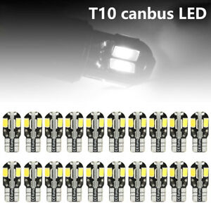 20 X Canbus T10 194 168 W5w 5630 8 Led Smd White Car Side Wedge Light Bulb
