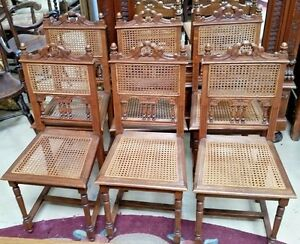 Set Of 6 Antique Oak French Dining Chairs With Caned Back Seat Carved Crest