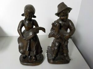 Pair Of Vintage Wood Hand Carved German Swiss Children Figures For Charity