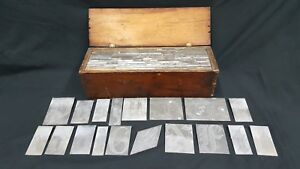 Antique Set Of 115 Plate Block Print Letters Numbers Tongue Groove Wood Box