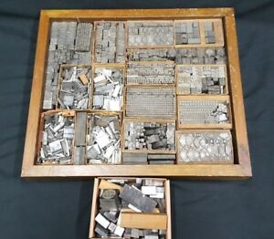 Vintage Box Of Typeset Block Print Letters Numbers Characters Symbols