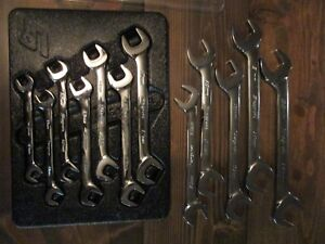 Snap On 12 Piece Metric 4 way Angle Head Open End Wrench Set 10mm 22mm With Tray
