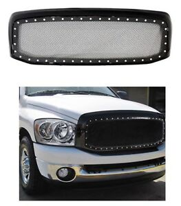 For Dodge Ram 1500 2500 3500 06 08 Black Rivet Style Ss Wire Mesh Grille Shell