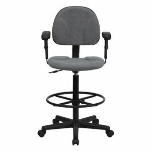 Multi functional Ergonomic Drafting Stool With Fabric Gray Low back