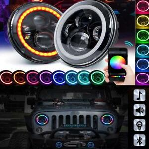 For Jeep Wrangler Headlight 7 Round Rgb Led Halo Ring Bluetooth App Controlled
