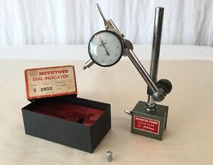 Vintage Mitutoyo 0001 Graduation 2802 Dial Indicator 7010b Magnetic Stand