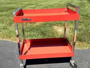 Mac Tools Rolling Service Utility Automotive Cart Two Trays Red