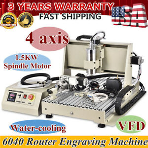 Usa 4 Axis 6040 Cnc Router 1500w Engraver Engraving Milling Machine 3d Cutter