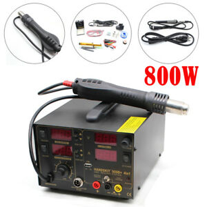 4 In1 909d Hot Air Rework Station Soldering Iron 5 Tips 4 Nozzles Led Digital