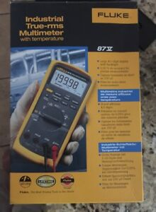Fluke 87v Industrial True Rms Multimeter Temp Temperature Probe Leads