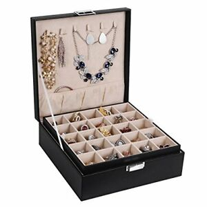 Bewishome 50 Slots Jewelry Box Earring Organizer 2 Stackable Trays Ring Storage
