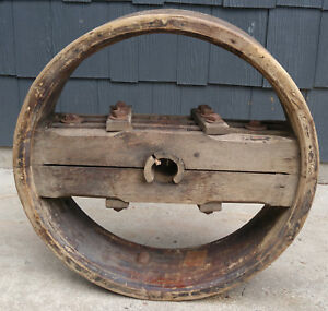 Huge 26 Antique Primitive Steampunk Wooden Flat Belt Farm Pulley Wheel