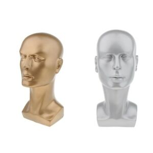 2 Male Pvc Plastic Mannequin Manikin Head Model Wig Hat Scarf Display Stand