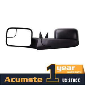 Pair Manual Tow Mirror Car Assembly For 94 01 Dodge Ram 1500 94 02 2500 3500