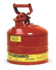 Type I Safety Can 2 5 Gal red 11 1 2in H Justrite 7125100