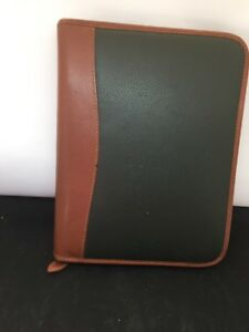 Vintage Day timer Two tone Leather 7 ring Organizer 10 5 X 8 25 New Unused