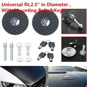 Car Universal Racing Mount Bonnet Carbon Fiber Hood Latch Pins Keys Lo