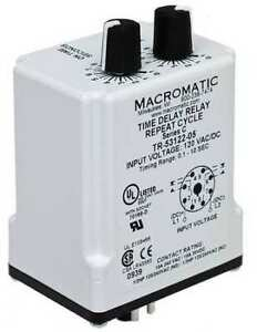 Time Delay Relay 120vac dc 10a dpdt Macromatic Tr 55122 08